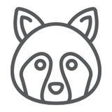 Línea icono del mapache, animal y parque zoológico, muestra del mapache