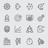 Línea icono del negocio y de la estrategia stock de ilustración