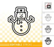 Línea icono del negro del muñeco de nieve de la galleta del pan de jengibre del vector ilustración del vector