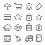 Línea icono del símbolo de las compras ilustración del vector