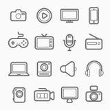 Línea icono del símbolo del dispositivo y de las multimedias Imágenes de archivo libres de regalías