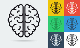 Línea icono del vector de cerebro ilustración del vector