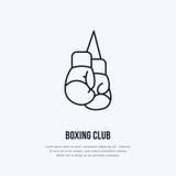 Línea icono del vector de los guantes de boxeo Logotipo del club de la caja, muestra del equipo Ejemplo de la competencia de depo Fotos de archivo libres de regalías