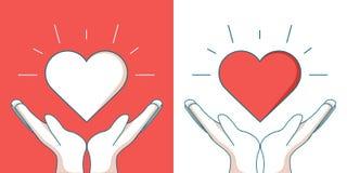 Línea icono del vector moderno de la ayuda de los huérfanos sola del diseño Una imagen de un corazón que flota entre dos manos libre illustration