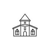 Línea icono, monumento religioso y edificio de la iglesia stock de ilustración