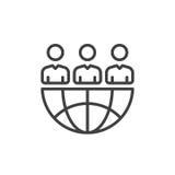 Línea icono, muestra del vector del esquema, pictograma linear de International Team del estilo aislado en blanco Símbolo, ejempl stock de ilustración