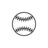 Línea icono, muestra del vector del esquema, pictograma linear de la bola del béisbol del estilo aislado en blanco stock de ilustración