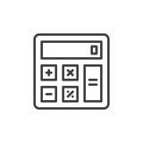 Línea icono, muestra del vector del esquema, pictograma linear de la calculadora del estilo aislado en blanco Foto de archivo