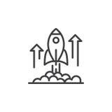 Línea icono, muestra del vector del esquema, pictograma linear del lanzamiento de Rocket aislado en blanco Foto de archivo