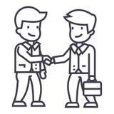 Línea icono, muestra, ejemplo del vector del apretón de manos de los hombres de negocios en el fondo, movimientos editable ilustración del vector