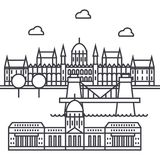 Línea icono, muestra, ejemplo del vector de Budapest, Hungría en el fondo, movimientos editable ilustración del vector