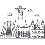 Línea icono, muestra, ejemplo del vector de Río de Janeiro, el Brasil en el fondo, movimientos editable Foto de archivo libre de regalías