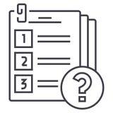 Línea icono, muestra, ejemplo del vector del examen en el fondo, movimientos editable stock de ilustración
