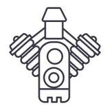 Línea icono, muestra, ejemplo del vector del motor de coche en el fondo, movimientos editable