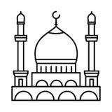 Línea icono - vector de la mezquita icónico stock de ilustración