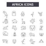 Línea iconos de África Muestras Editable del movimiento Iconos del concepto: viaje, fauna, natutre, animales etc Esquema de Áfric stock de ilustración