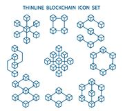 Línea iconos de Blockchain stock de ilustración