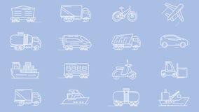 Línea iconos de diversos vehículos stock de ilustración