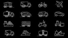 Línea iconos de diversos vehículos