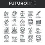 Línea iconos de Futuro de la bioquímica y de la genética fijados libre illustration