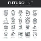 Línea iconos de Futuro de la educación y formación fijados ilustración del vector