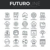 Línea iconos de Futuro de la tecnología de los datos de la nube fijados