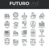 Línea iconos de Futuro de las construcciones fijados ilustración del vector
