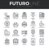 Línea iconos de Futuro de los elementos de la ciudad fijados