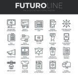 Línea iconos de Futuro de los medios de publicidad fijados ilustración del vector