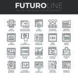 Línea iconos de Futuro del desarrollo web fijados