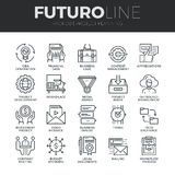 Línea iconos de Futuro del planeamiento de proyecto fijados
