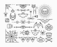 Línea iconos de Halloween fijados Imagen de archivo