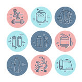 Línea iconos de la aptitud Imagenes de archivo