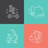 Línea iconos de la aptitud Imágenes de archivo libres de regalías