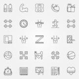 Línea iconos de la aptitud fijados Imágenes de archivo libres de regalías