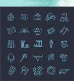 Línea iconos de la arqueología fijados ilustración del vector