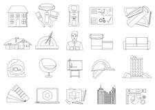 Línea iconos de la arquitectura y de la construcción fijados Imágenes de archivo libres de regalías