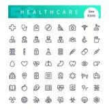 Línea iconos de la atención sanitaria fijados Imagen de archivo