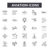 Línea iconos de la aviación para la web y el diseño móvil Muestras Editable del movimiento Ejemplos del concepto del esquema de l stock de ilustración