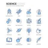 Línea iconos de la ciencia stock de ilustración