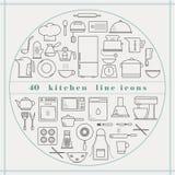 Línea iconos de la cocina Imagen de archivo libre de regalías
