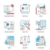 Línea iconos de la contabilidad del negocio y de las finanzas fijados ilustración del vector