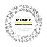 Línea iconos de la cuenta de las finanzas Balanza del dinero, coche de las propiedades inmobiliarias que acredita el cartel de la stock de ilustración