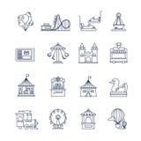 Línea iconos de la diversión de Luna Park del vector stock de ilustración
