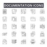 Línea iconos de la documentación para la web y el diseño móvil Muestras Editable del movimiento Ejemplos del concepto del esquema libre illustration