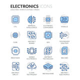 Línea iconos de la electrónica stock de ilustración