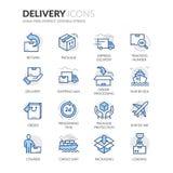 Línea iconos de la entrega stock de ilustración
