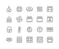 Línea iconos de la estufa stock de ilustración