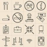 Línea iconos de la exposición fijados Imagenes de archivo