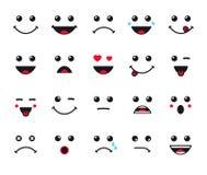 Línea iconos de la expresión de las caras de la historieta fijados stock de ilustración